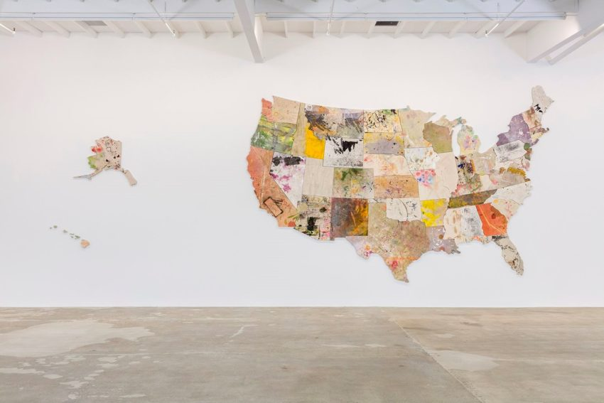 Nate Lowman, Untitled (2013-2015). Mixed media on canvas dropcloth, 168 x 336 inches. Image courtesy of the artist and Maccarone New York and Los Angeles. Photo: Joshua White.