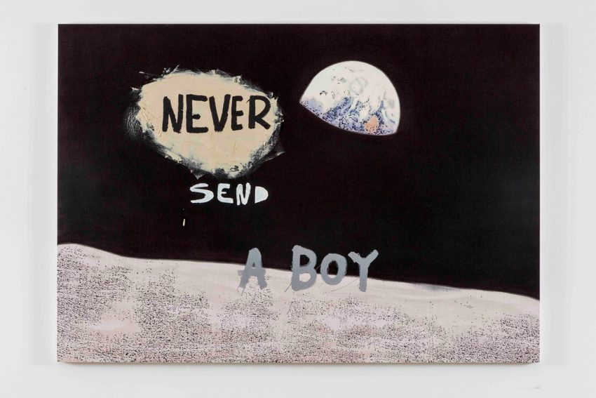 Nate Lowman, Never Send a Boy (2016). Oil, alkyd and impasto medium on linen, 63 x 90 x 1.5 inches. Image courtesy of the artist and Maccarone New York and Los Angeles. Photo: Joshua White.