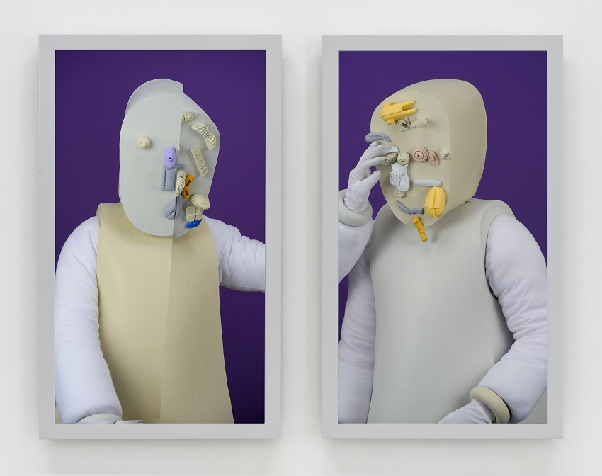 Brian Bress, Organizing the Physical Evidence (Purple) (2014). High definition dual-channel video, color, high definition monitor and player, wall mount, framed 38 ½ x 49 x 4 inches, TRT 20:38. Image courtesy of the artist and Cherry and Martin, Los Angeles. ©Brian Bress
