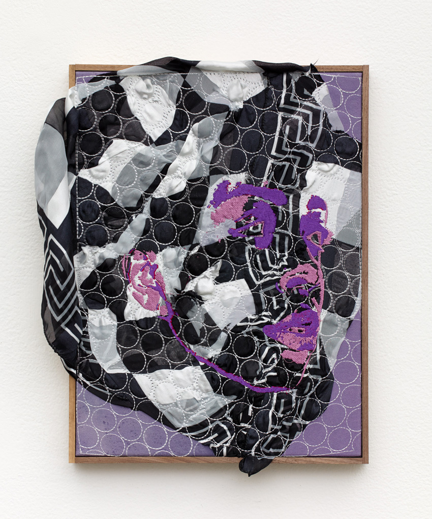 Brendan Fowler, Mariah (2017). Polyester, rayon (industrial embroidery), found fabric, acrylic on canvas, walnut, 16.5 x 13.5 inches.