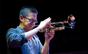 photo of Cuong Vu playing trumpet