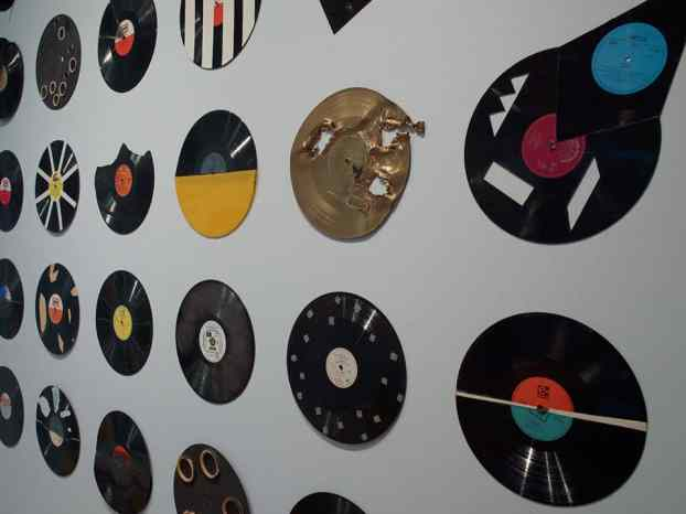 Milan Knižák, Destroyed Music 1963-1979, vinyl records Courtesy of Kontakt. The Art Collection of Erste Group and ERSTE Foundation