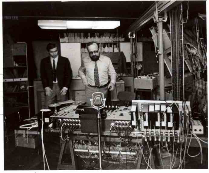 Krzysztof Penderecki and Eugeniusz Rudnik in the Experimental Studio of Polish Radio, early 1960s, photo. A. Zborski, courtesy of Calvert22 Foundation