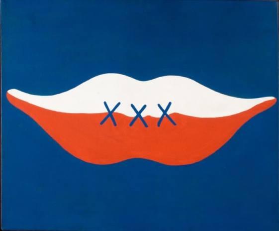"""Jerzy """"Jurry"""" Zieliński,Usmiech Czyli """"Trzydziesci"""" – lac. """"Cha Cha Cha"""", (The Smile, or Thirty Years, Ha, Ha, Ha), 1974 Oil on canvas, 58.5 x 70 cm. collection of Polish Modern Art Foundation, Warsaw image: courtesy of Galeria Zderzak, Krakow"""