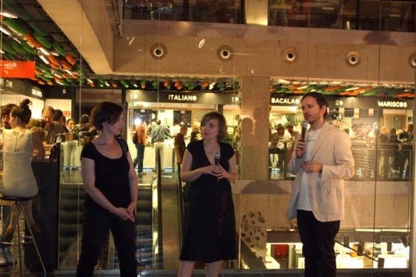 from left Izabella Jagiełło, Agnieszka Kulazińska, Javier Duero, Young Polish Artists on tour Espacio Trapézio , Madrid 2011, courtesy CCA Laznia