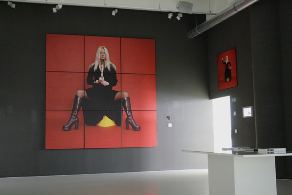 "Natalia LL, Velvet Terror, 1970, photograph, 300 x 300 cm, deposit of the Wrocław Contemporary Museum, exhibition view: ""Natalia LL. Jestem! (I am) at The Regional Gallery of Fine Arts in Zlín, Zlin 2014, photo Contemporary Lynx"