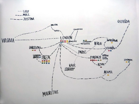 Magda Buczek, Justina&co.uk, Justina's, Moll's and Lulu's map of journeys (2013) wall painting incl 48 bandaid and found footage stickers in the shape of mouth and cupcakes covered with nail varnish, photo courtesy the artist