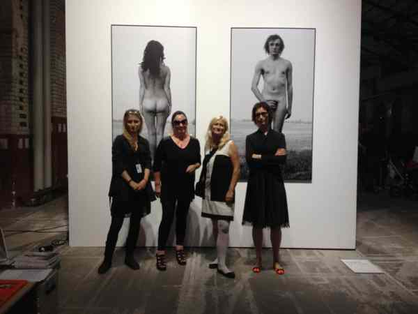 Agnieszka Rayzacher, Natalia LL & Zuzanna Janin in front of Natalia LL's work Body Topology, 1967, photography, digital print, 2 pieces, abc art fairs, Courtesy of the Local_30 Gallery, September 2014