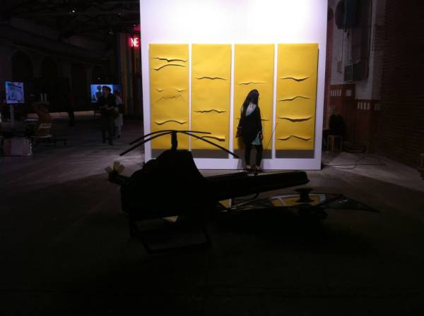 Zuzanna Janin, Yellow Pictures, 1999-2014, 4 Objects, wood, sand paper and sound digital files & VOLVO 240 transformed into 4 drons, 2014, Scrap body of Volvo240, dimensions variable, abc art fairs, Courtesy of the gallery, September 2014