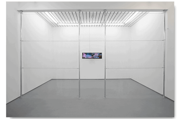 "Norbert Delman, 'I.P.C. 1/4', 7'24"" 2015, Metal fence, 24"" LED screens, 292 x 495 cm"
