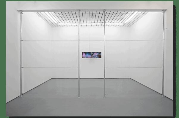 """Norbert Delman, 'I.P.C. 1/4', 7'24"""" 2015, Metal fence, 24"""" LED screens, 292 x 495 cm"""