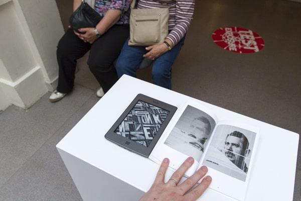 Sebastian Schmieg (Germany) and Silvio Lorusso (Italy), '56 Broken Kindle', photo Contemporary Lynx, National Museum, part of The 16th Media Art Biennale WRO, Wrocław, 2015