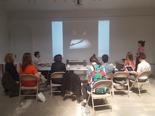 RU artist Moon Ribas (New York) presenting her performative work at RU to other artists in residence, May 2016