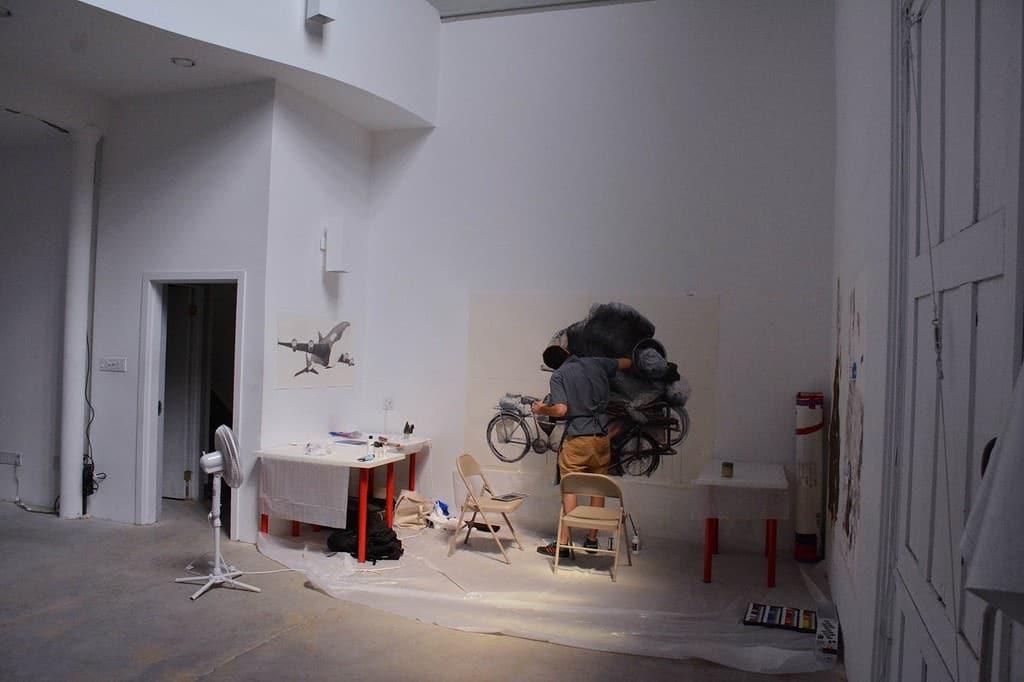 RU artist Rodrigo Imaz (Mexico) working in the shared workspace at RU headquarters