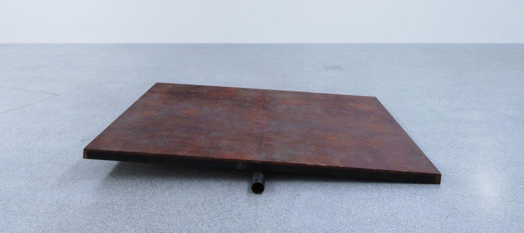 Miroslaw Balka, 250 x 205 x 25, 30 x 7 x 25, Installation (steel, plywood, sparklers), 250 x 175 x 8 cm,2006, MUSEION Collection