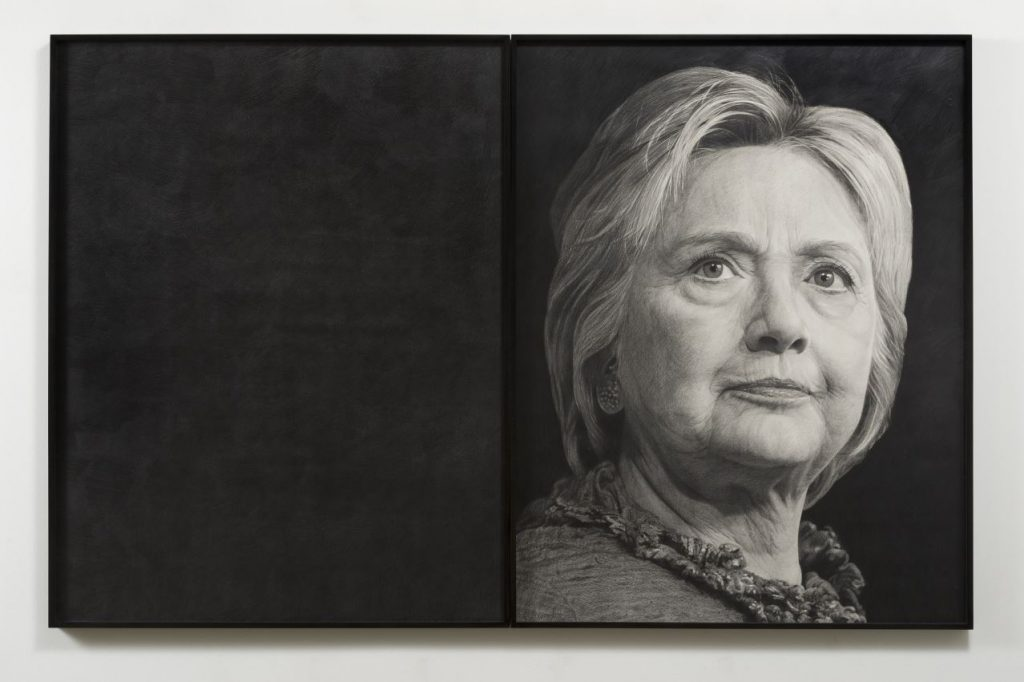 Haendel's graphite portrait of Clinton, Photographer Jeff McLane via Vielmetter