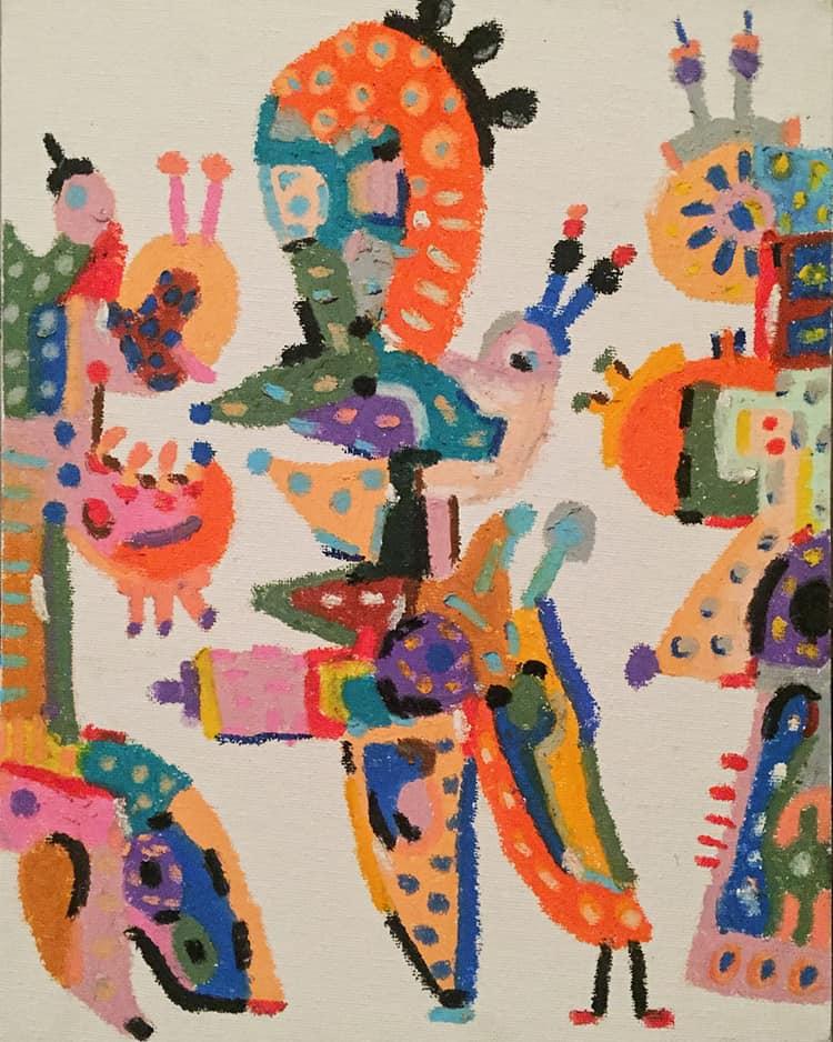 Kuba Mozolewski, drawing, 24cm x 30cm, oil pastels on canvas, courtesy of the artist