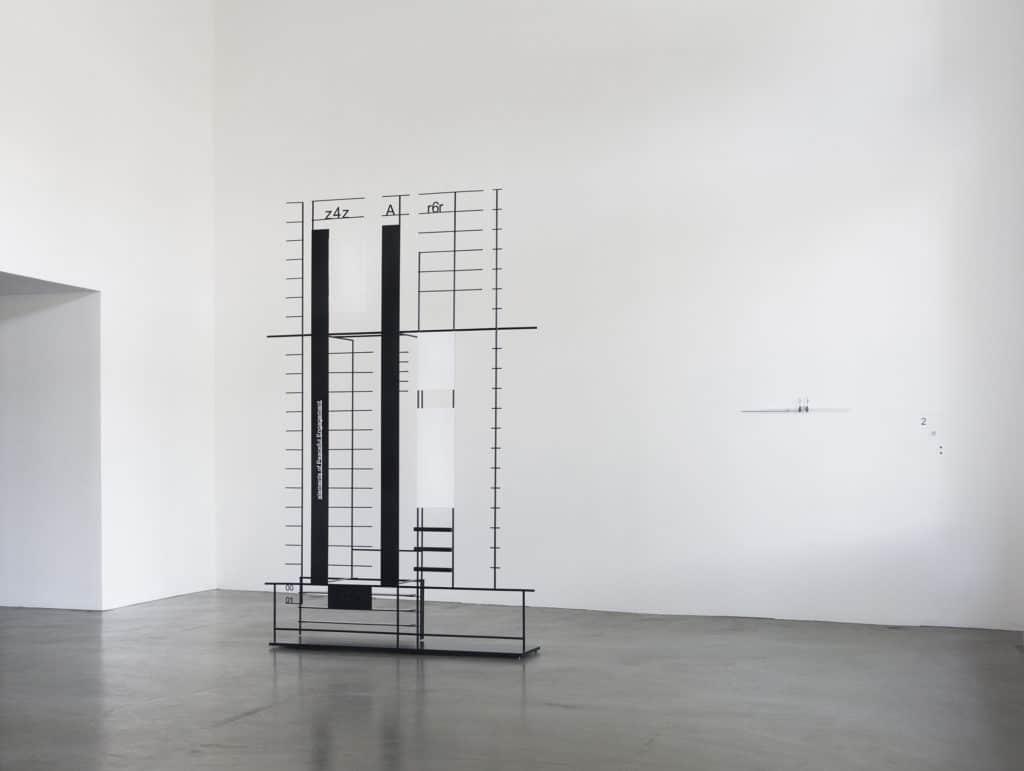 Marlena Kudlicka, sugar in the ashes, Official Capacity, 2017 sculpture, 230 x 150 x 52cm, powdercoated steel, © Marlena Kudlicka, Courtesy: Zak Branicka, photo: Amandine Quillon