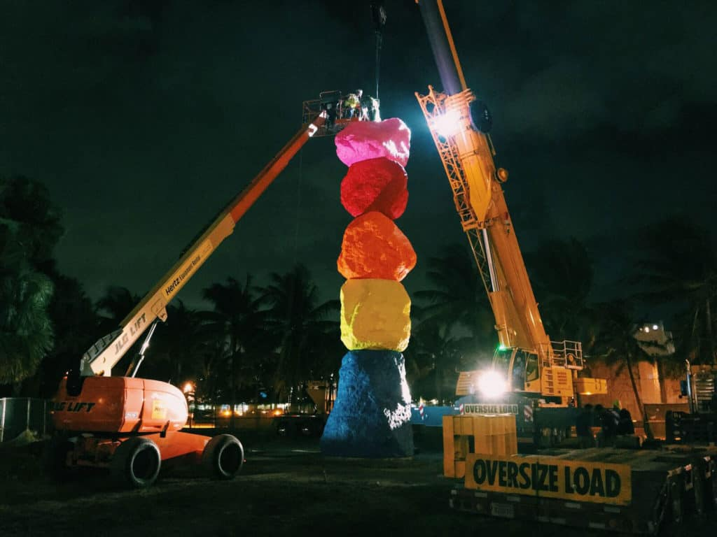 During-installation-of-Ugo-Rondinone's-Miami Mountain, 2016. Photo © Jorge Graupera, 2016. Courtesy of J. G. Films and The Bass, Miami Beach.