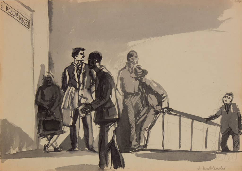 [Group Scene no.238] Undated Watercolour and gouache on paper 15 x 21 cm Private collection © Andrzej Wróblewski Foundation