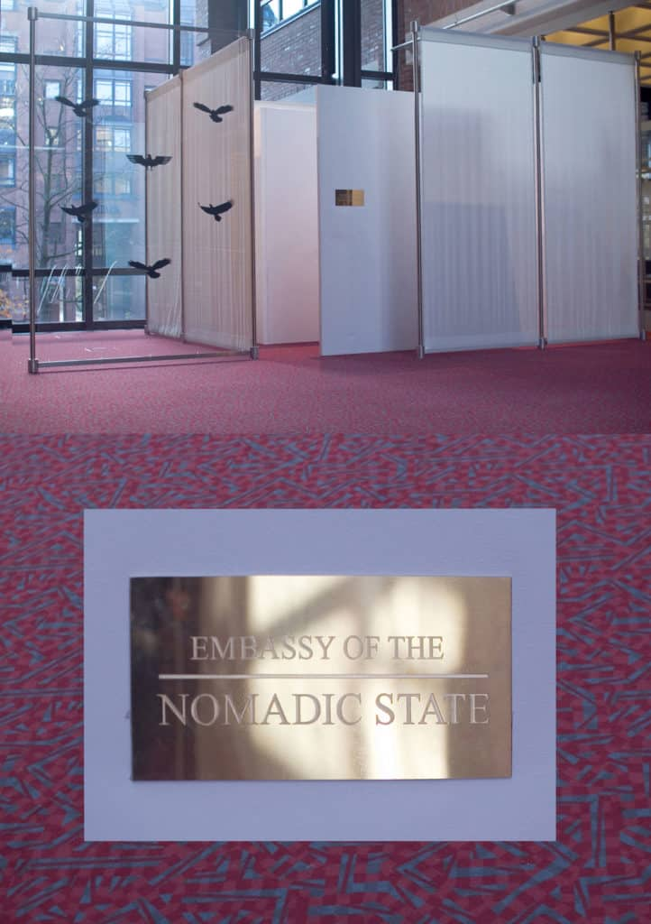 """Temporary embassy of the Nomadic State"", Spielart Festival Munich 2015"