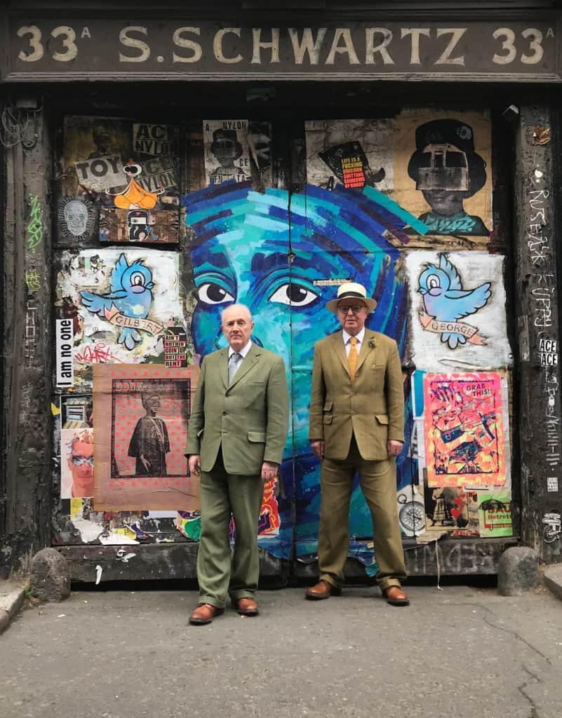 Gilbert&George at their street, photo Jadwiga Charzyńska