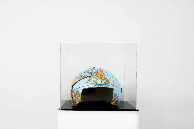 Alicja Gaskon, Dividing Lines_ The Combat Helmet, cardboard, silicone, plaster, 2017