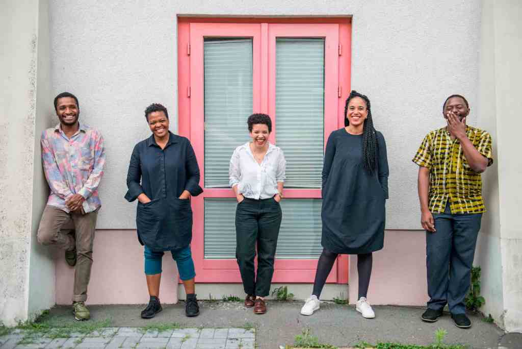 Curatorial team of the 10th Berlin Biennale for Contemporary Art, f. l. t. r. Thiago de Paula Souza, Gabi Ngcobo, Nomaduma Rosa Masilela, Yvette Mutumba, Moses Serubiri, photo F. Anthea Schaap