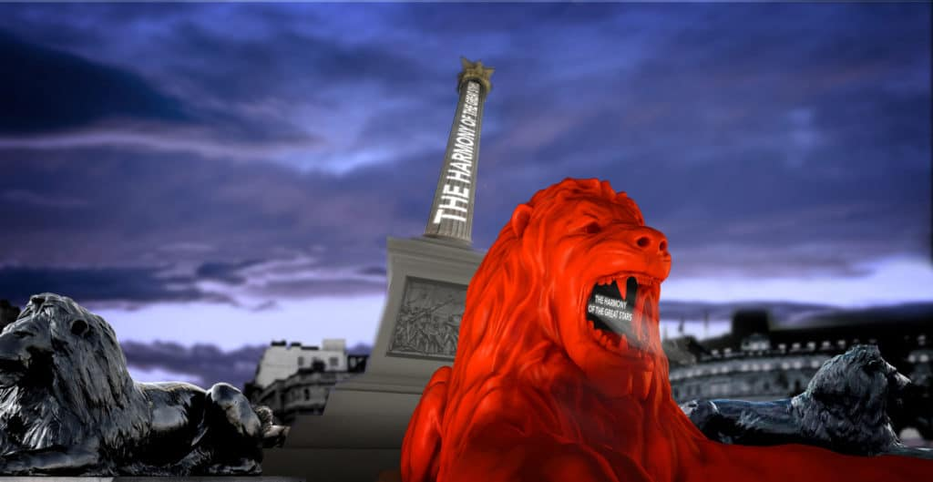 the four monumental lions in Trafalgar Square (2)