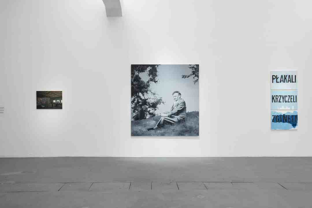 "From the left: Şerban Savu, ""Steelworkers"", oil on panel, 2015; Wilhelm Sasnal, ""Broniewski"", 2005, oil on canvas; Jadwiga Sawicka, ""They Cried, They Screamed, They Died"", oil on canvas, 2011; photo: Wojciech Pacewicz"