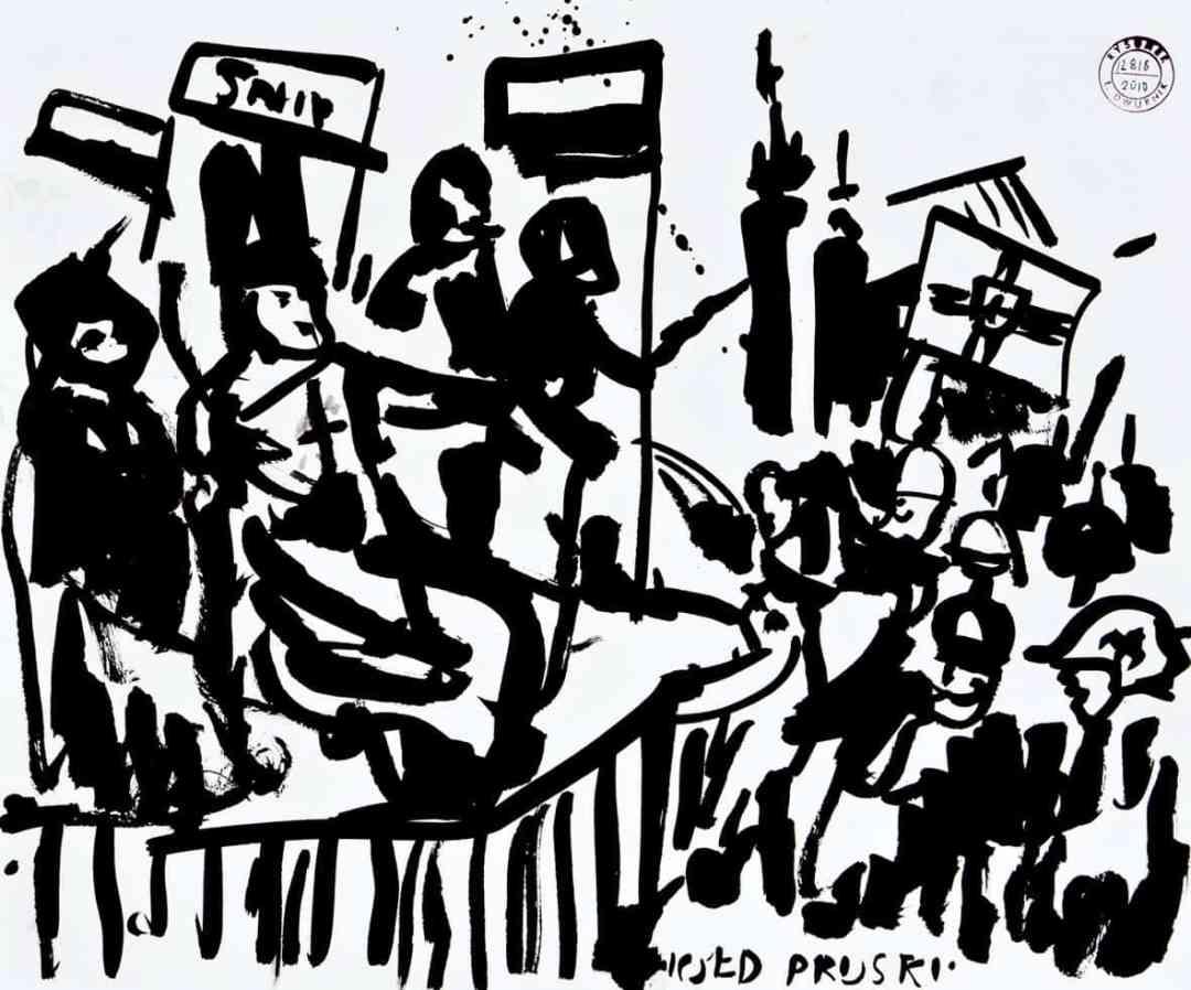 """Edward Dwurnik, szkice do obrazu """"Hołd pruski"""", 2010, tusz na kartonie, 46 x 55 cm, Kolekcja MOCAK-u, fot. R. Sosin"""