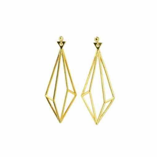 3D Earrings Gold Unikke Design