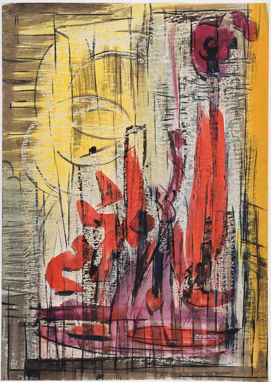 Bogusław Szwacz, Composition, 1956, ink, watercolour, tempera, pastel, paper, photograph by Zygmunt Gajewski .