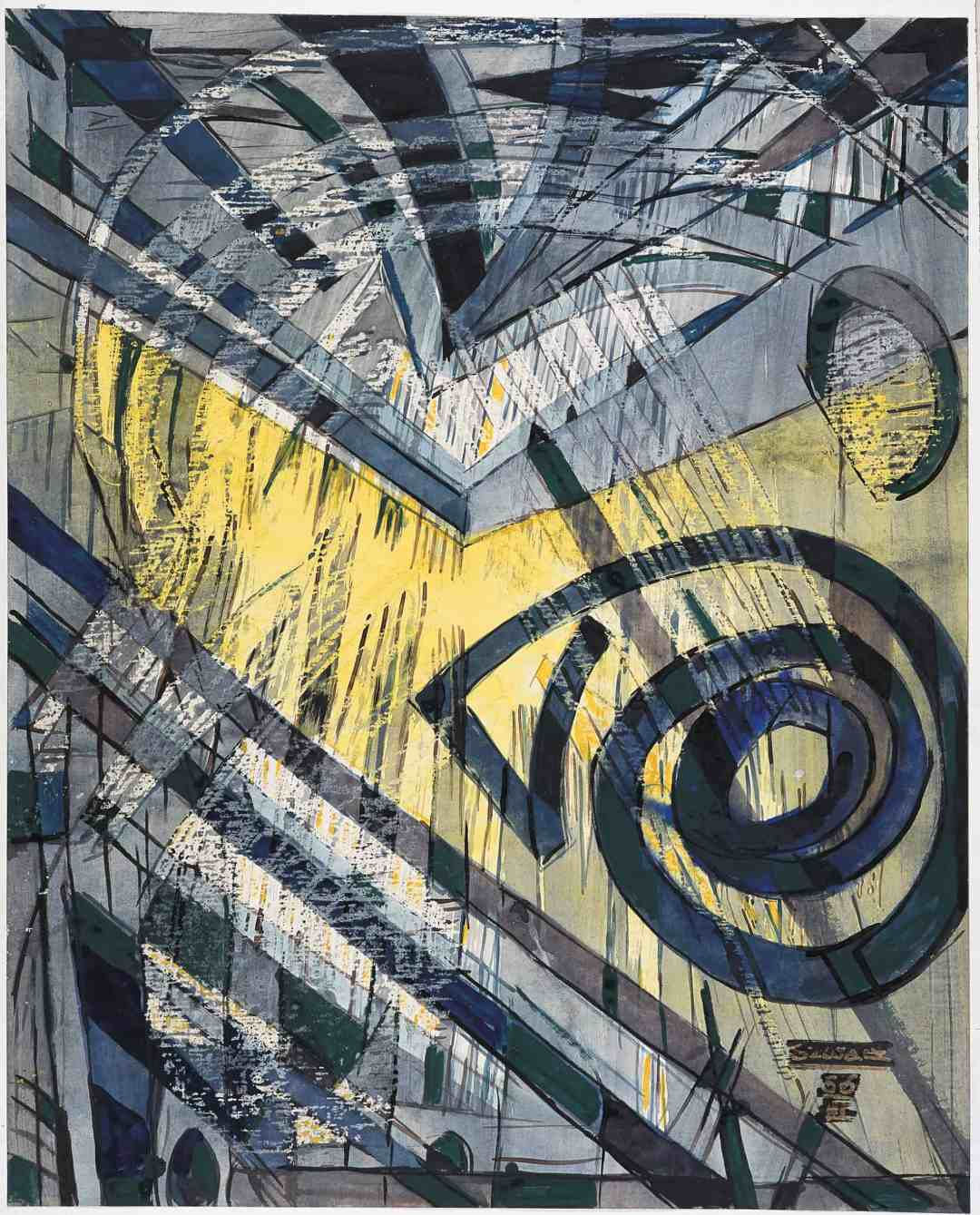 Bogusław Szwacz, Composition, 1956, ink, watercolour, tempera, pastel, paper, photograph by Zygmunt Gajewski.