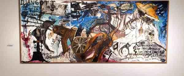 Jonathan Messe, Djangott I-IV..., 2001, oil on canvas, three parts, 180x420cm.