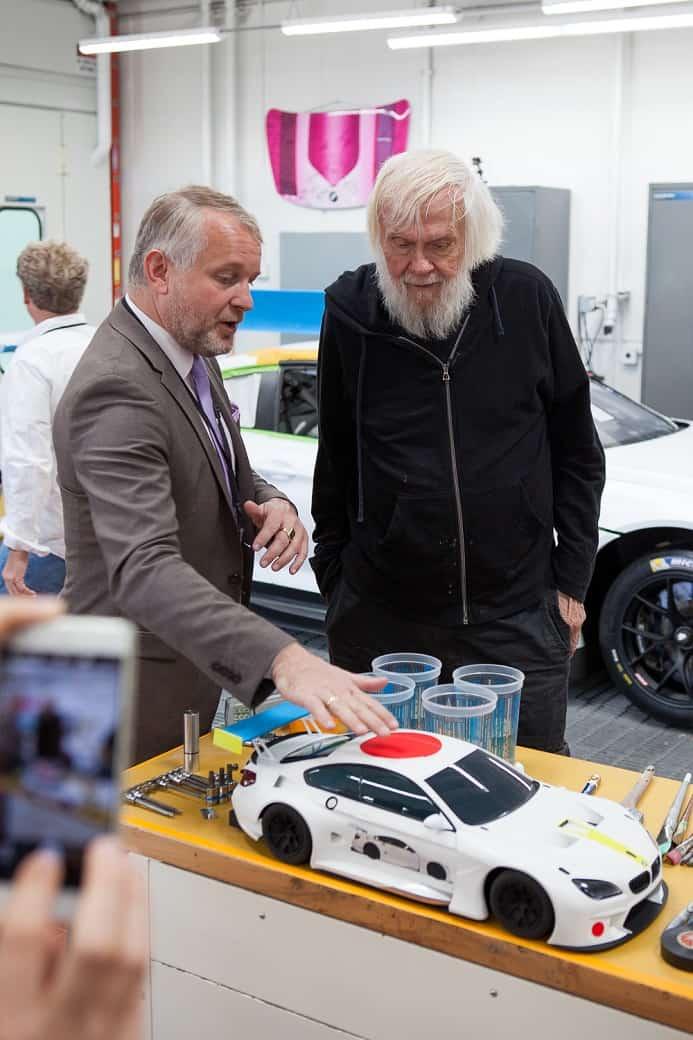 Prof Dr Thomas Girst with John Baldessari artist of BMW Art Car 19, Oxnard 2016, photo credits Brett Cody Rogers