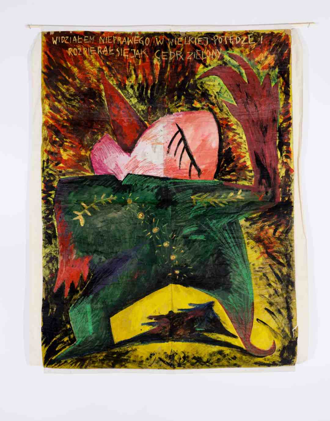 "Paweł Kowalewski, ""I have seen the wicked in great power, and spreading himself like a green bay tree"", 1985, acrylic on paper, 250 x 180 cm"