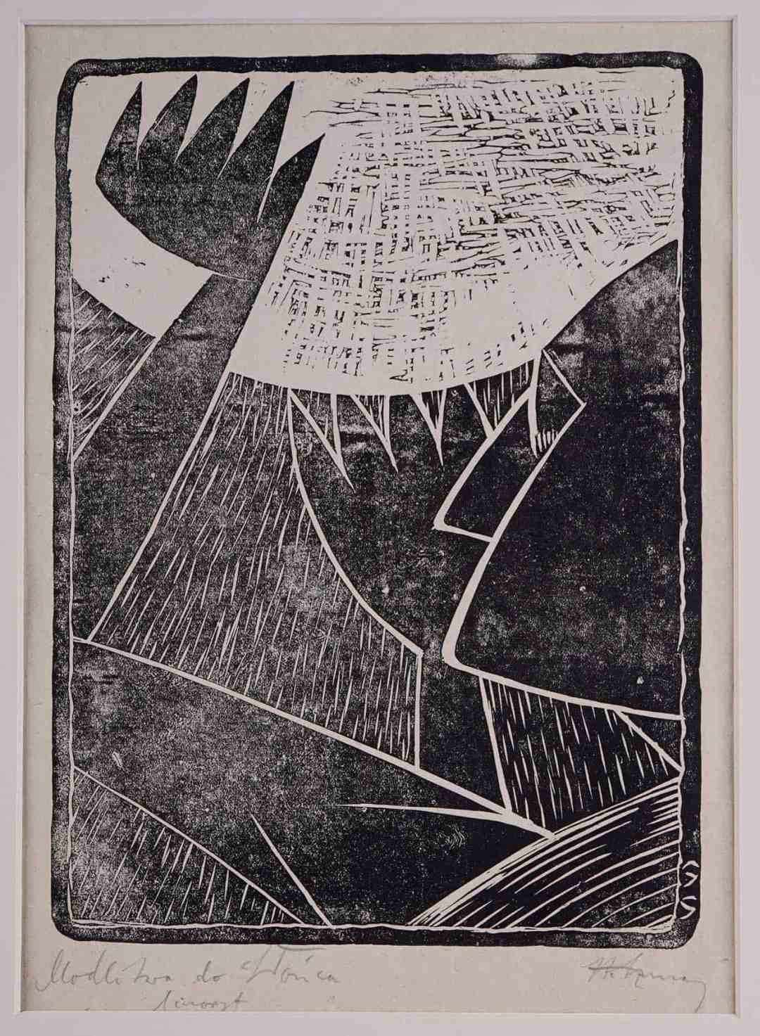 Stefan Szmaj, Prayer to the Sun / Profile, Linocut, paper; 25,1 x 18,3 cm
