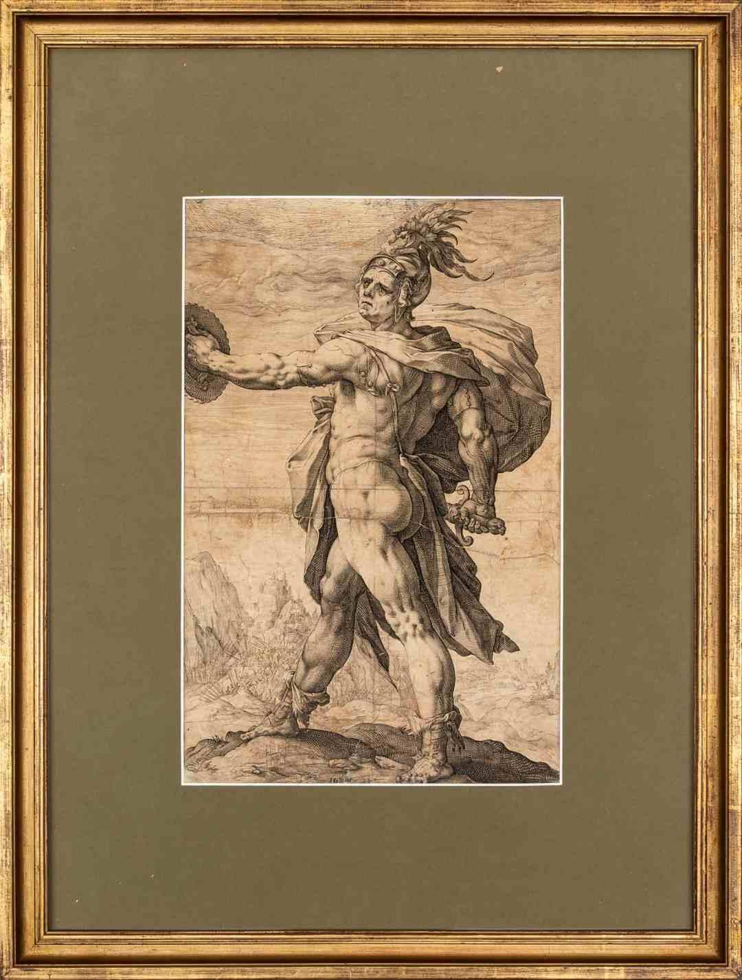 """Hendrick Goltzius (1558 - 1617) """"Calpurnius"""", 1586, engraving on paper 35,5 x 23 cm, signed with a monogram: HG fecit"""