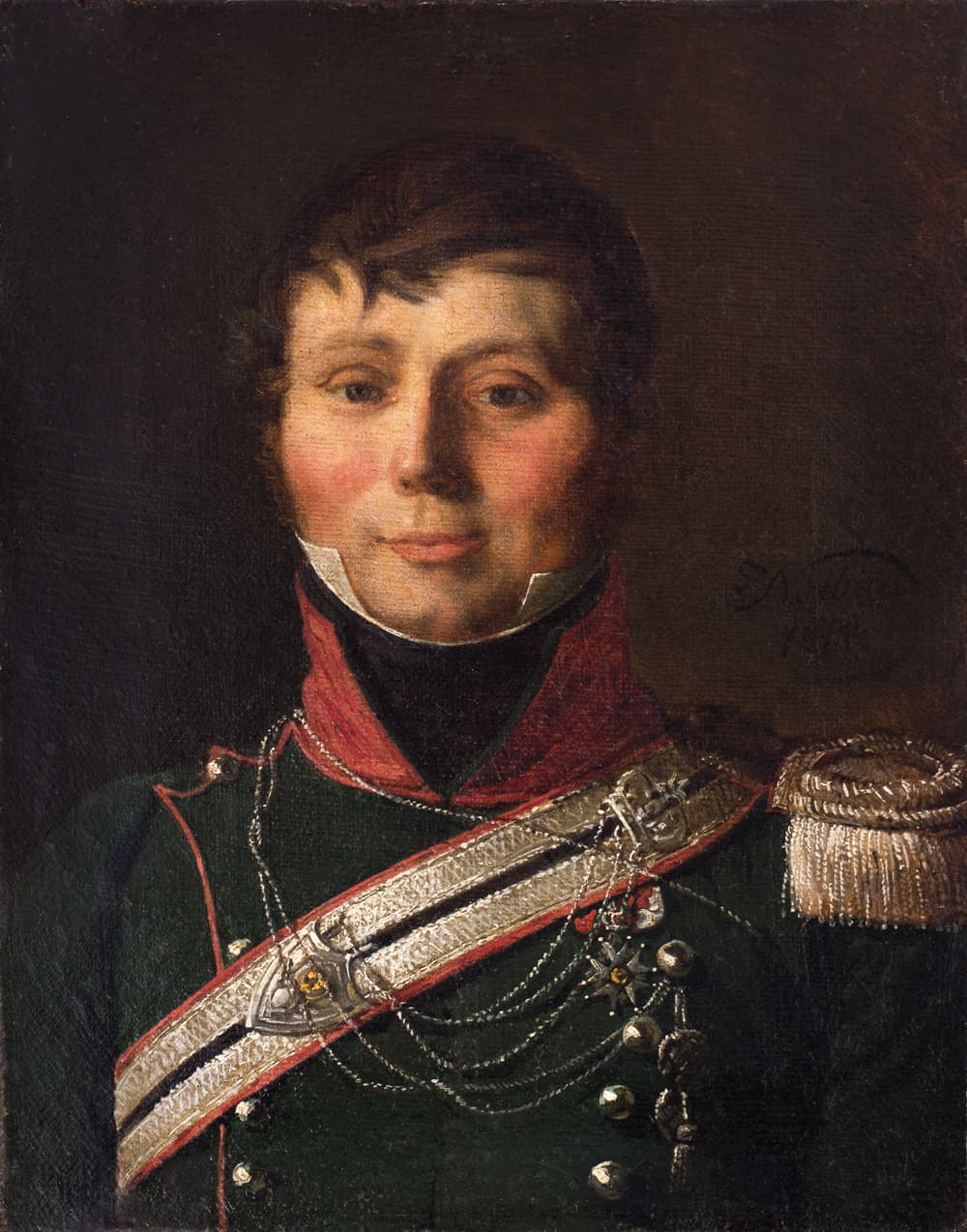 "Jan Piotr Norblin (1745 - 1830) ""Portret kapitana 1. Pułku Szaserów"" 1818, oil on canvas, 27 x 21,5 cm, signed and dated on the right edge, ""J. Norblin 