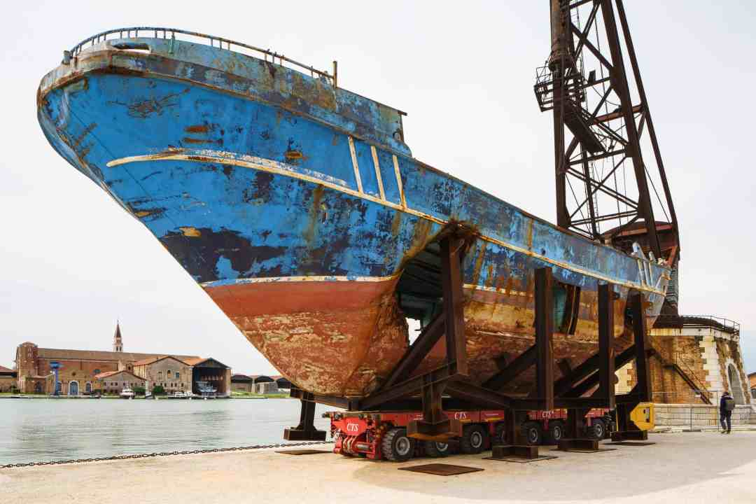 Christoph Büchel, Barca Nostra, 2018-2019, Shipwreck 18th of April 2015,58th International Art Exhibition - La Biennale di Venezia, May You Live In Interesting Times, photo by Andrea Avezzù, Courtesy: La Biennale di Venezia