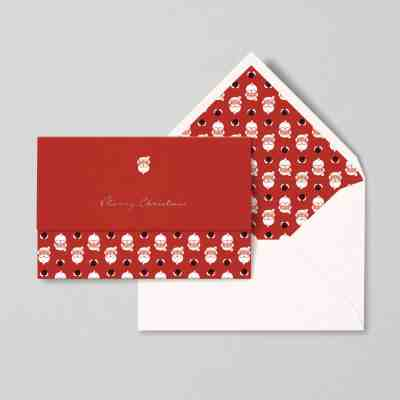 christmas card papear stationary santa