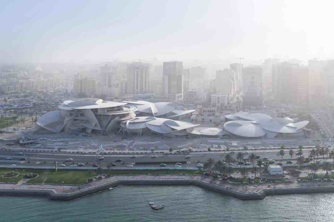 Aerial view of the National Museum of Qatar designed by French architect, Jean Nouvel, Photo Iwan Baan