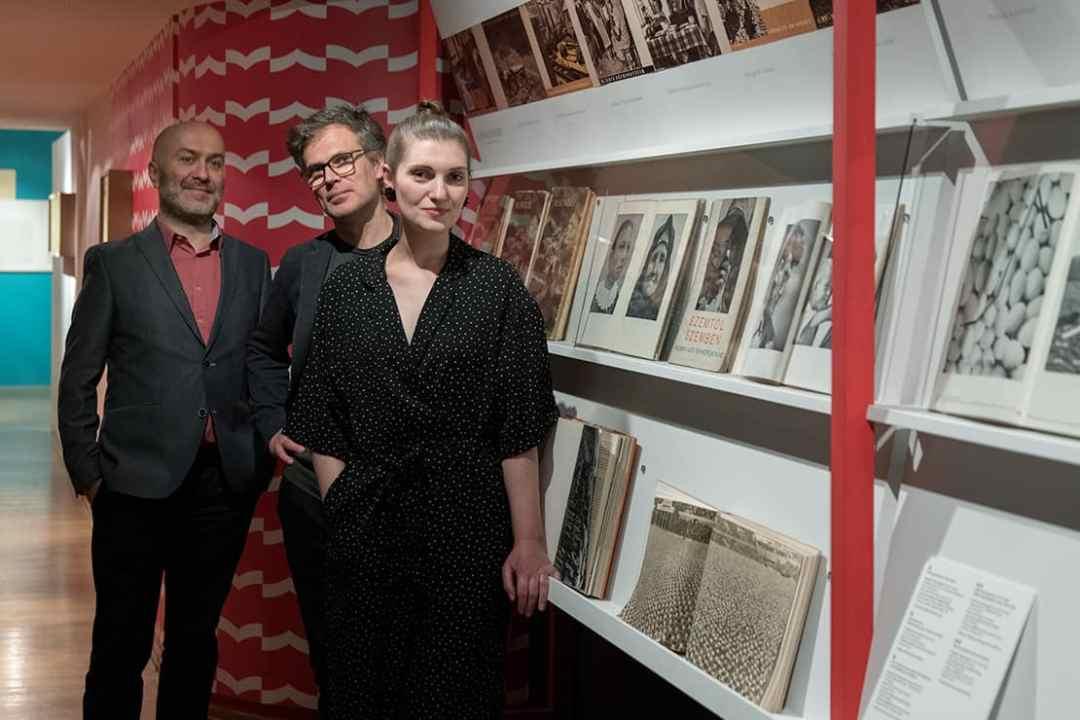 Łukasz Gorczyca, Natalia Żak, Adam Mazur, curators of the show, Photobloc. Central Europe in Photobooks exhibition, International Cultural Centre Gallery, Kraków.