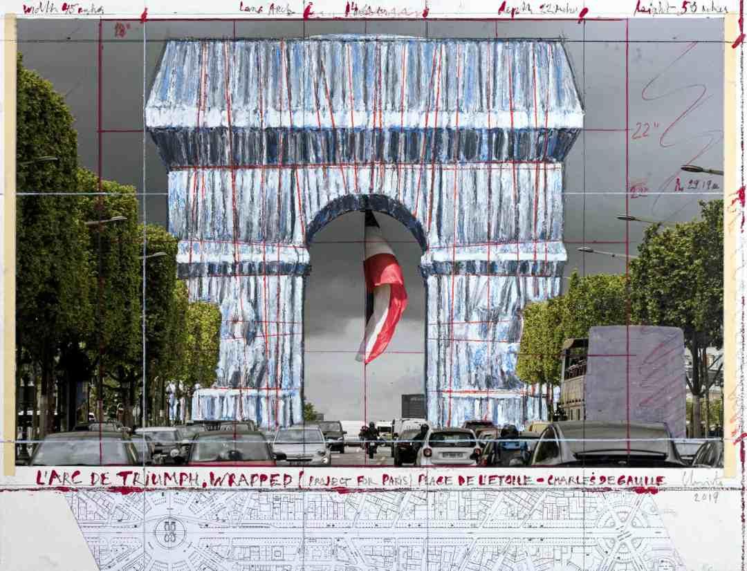 Arc de Triomphe, Wrapped (Project for Paris) Place de l'Etoile – Charles de Gaulle, 2019 © Christo