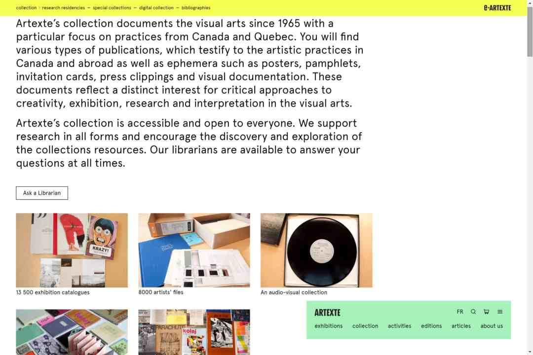 Screenshot of the website e-artexte