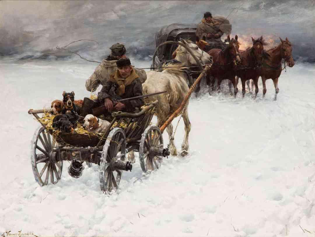 Alfred Wierusz Kowalski, Niespodziewana śnieżyca,