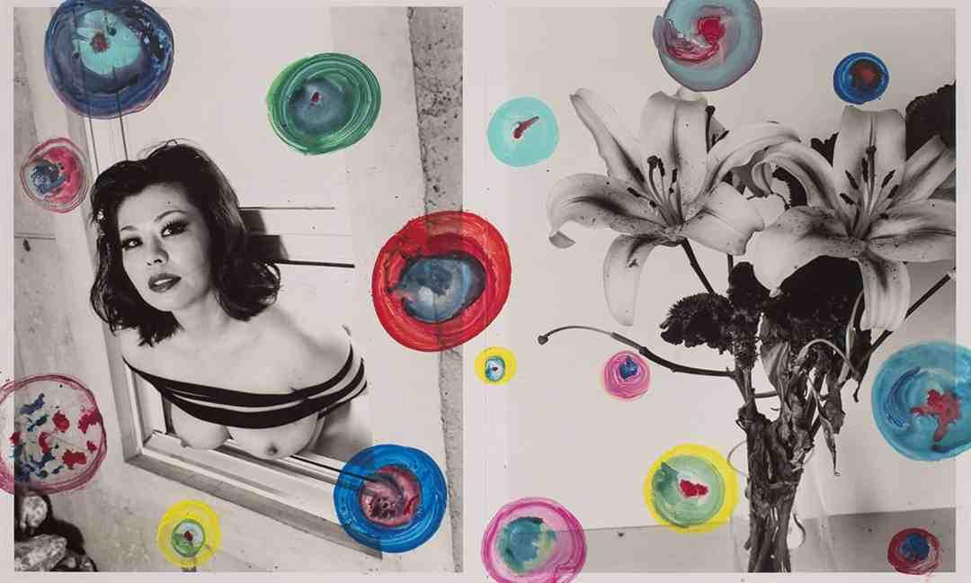 Nobuyoshi Araki, Untitled, 2007, cm 61x101 (diptych), hand painted vintage gelatin silver print, unique piece, Courtesy Collezione Ettore Molinario, ©Nobuyoshi Araki