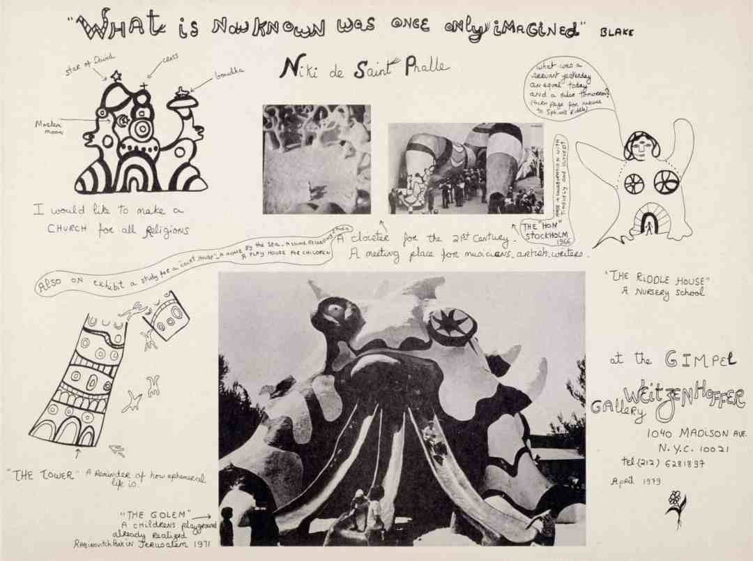 Niki de Saint Phalle. What is now known was once only imagined. 1979. Offset print. © 2020 NIKI CHARITABLE ART FOUNDATION. Photo: NCAF Archives