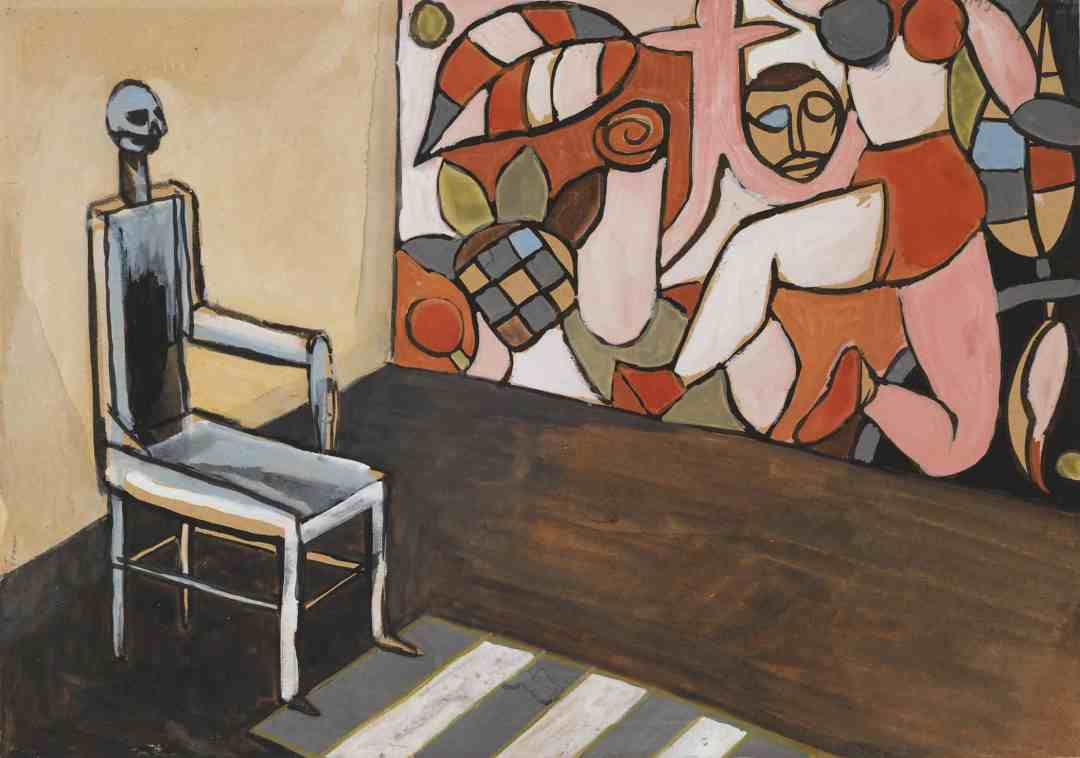 (Throne) / (Tron); undated; gouache, paper; 29.5 × 42 cm; private collection, © Andrzej Wróblewski Foundation